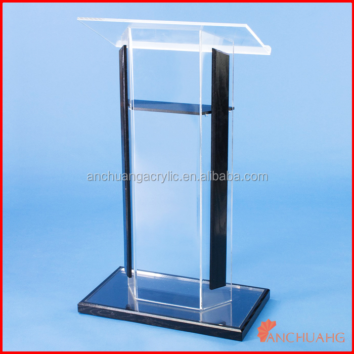 acrylic solid black collapsible podium