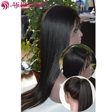 Suppliers Unprocessed 10A Grade 20 Inch Yaki Straight Overnight Shipping Full Lace Wig Virgin Peruvian Human Hair with Baby Hair
