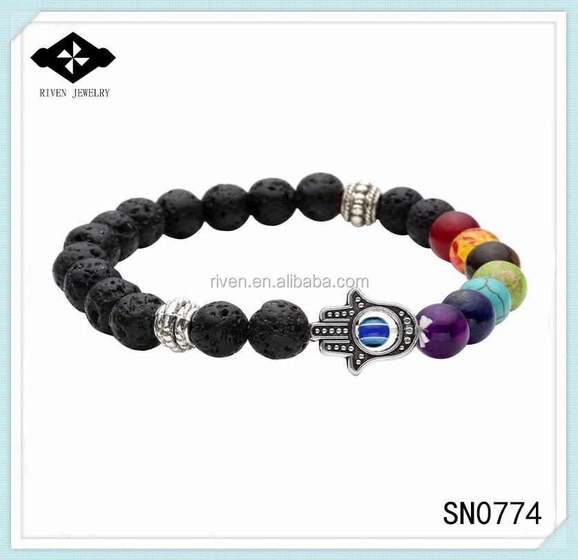 SN0774 Personal 7 Chakra Beaded Hamsa bracelet Men Black Lava rock bracelet with hand evil eye beaded jewelry Man Bracelets.jpg