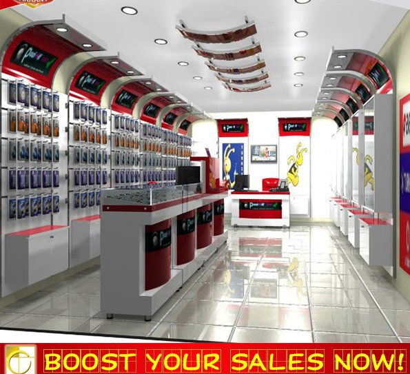 Professional mobile shop design interior antique display furniture for mobile store