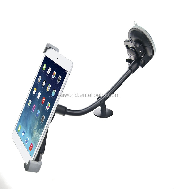 2015 Newest Design Long Neck Sucker Cup Tablet PC Holder Car Mount For 360 Rotate No Charger Mount Holder