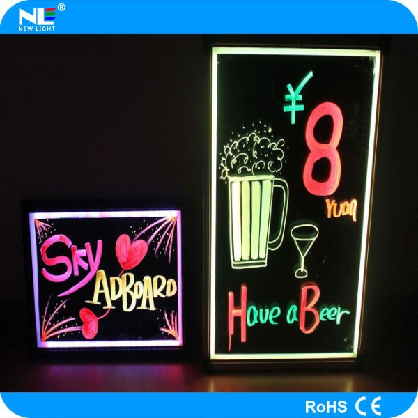 Factory direct 50x70cm Tempered glass or Acrylic LED writing board , over 50 flashing modes, with remote control