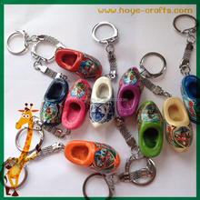 wooden single shoe key chains promotional clog shoe Key chains