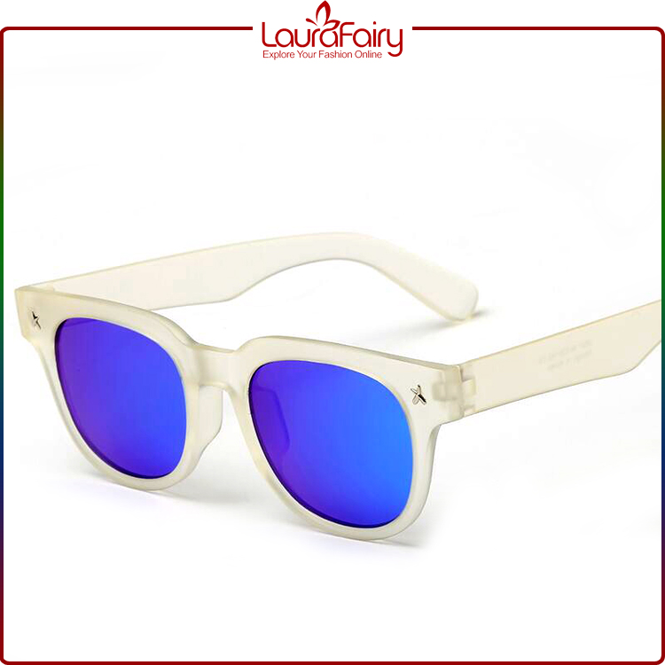 Laura Fairy White Frame Mirrored Lens Wholesale Sunglasses Brand Your Own 2017