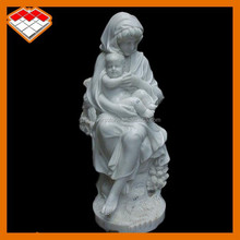 Hot selling hand carved white marble statue of mother and baby type mary and baby jesus statue