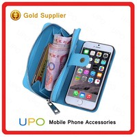 [UPO] Genuine Leather Wallet Flip Cell Phone Cover Case for iPhone 6 Plus with Wallet Bag Card Slot