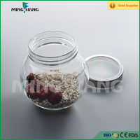 200ml fancy storage clear candy glass jar with duoble bottoms and metal lid wholesale