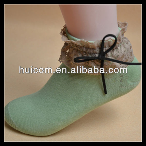 black bows green color female socks