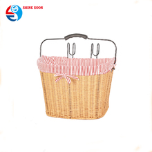 Willow bike baskets Wicker with fabric and folded handle Bicycle basket