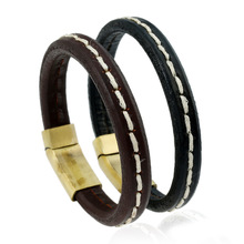 Queena Bracelets & Bangles Mens Gift Black Leather Knitted Magnetic Clasp Bracelet Men Jewelry
