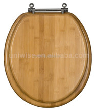 Lt/Dk Enlongated/Round Bamboo Toilet Seat,Carbonized natural,Chrome/Brass fitting Soft close bamboo toilet seat