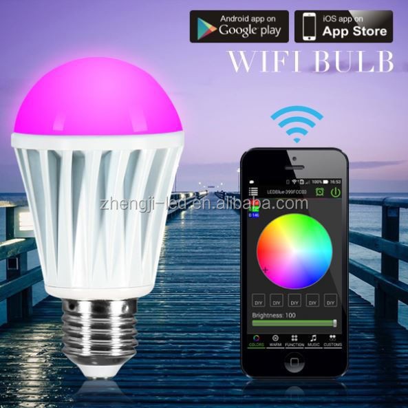 Newest auto link iphone RGBW Bluetooth 4.0 led bulb light/e27 timer shenzhen 13w r7s led replace double ended haloge no wifi box