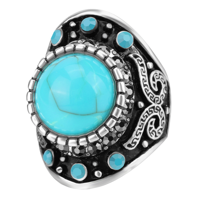 YWMT 2018 Hot Sale Vintage Chunky Turquoise Gemstone Ring Boho Silver Ring Men Women <strong>Jewelry</strong>