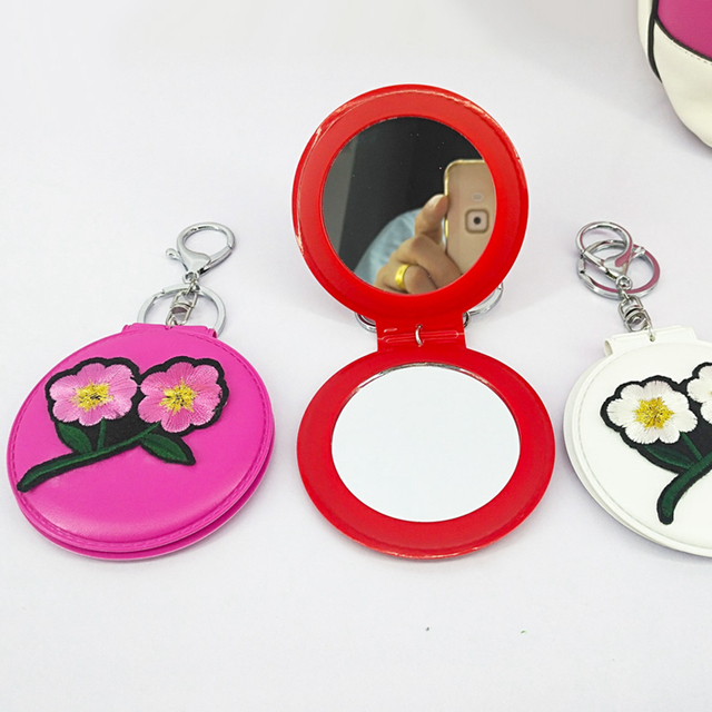 Flower handbag portable cosmetic leather mirror Pendant keychain
