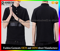 High quality soft cotton fabric and leather polo shirt black