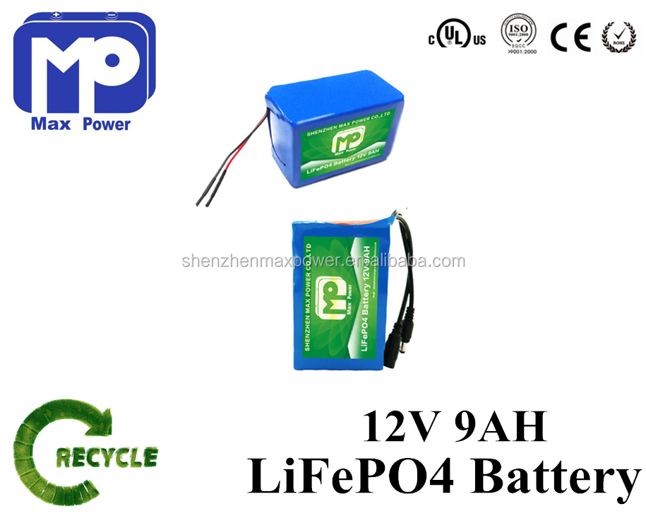 lifepo4 battery pack 12V 9Ah rechargeable battery pack for robots system, electrics, Internet devices