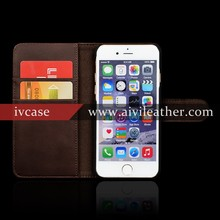 Coffee Retro Leather Cover for Iphone 6 with Magnetic Strap