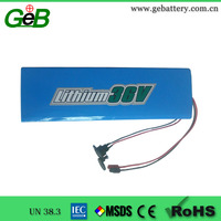 GEB 36V10Ah lifepo4 battery rechargeable lithium battery pack
