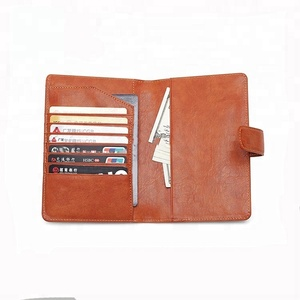 RFID Blocking Leather Travel Passport Holder With Snap Bifold Wallet For Men