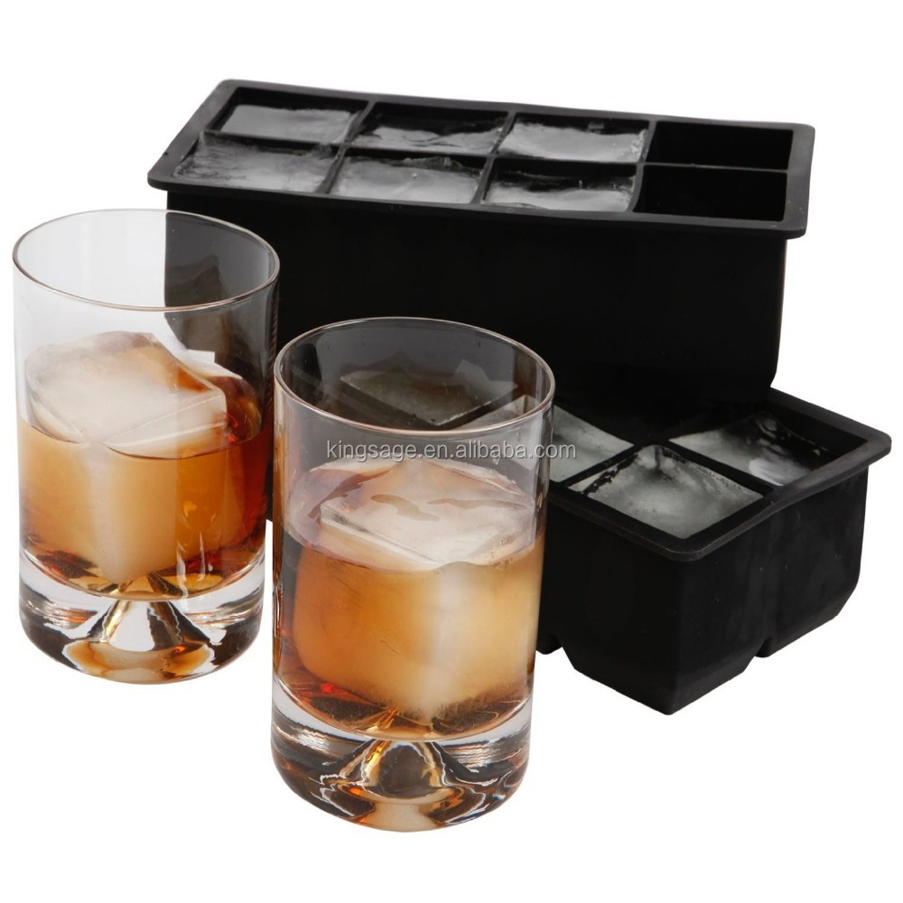 "Hot Sale 8 Cube 2"" Ice Silicone Square Jumbo Ice Cube Tray Ice Molds"