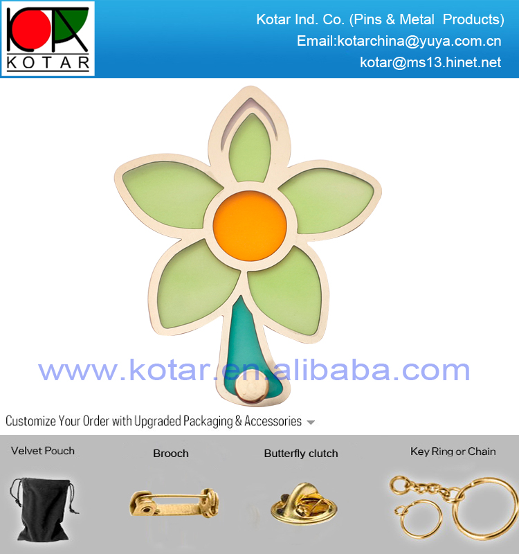 Custom high quality flower shape metal bookmark with enamel