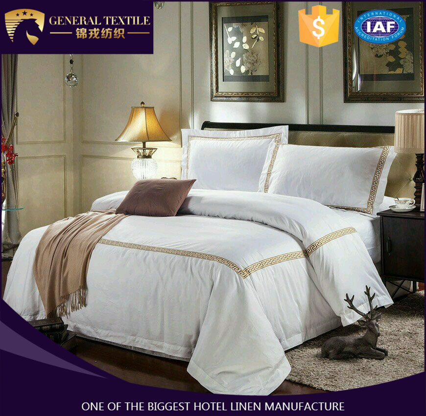 400T 100% cotton satin fabric embroidery queen/king /single size bed linen