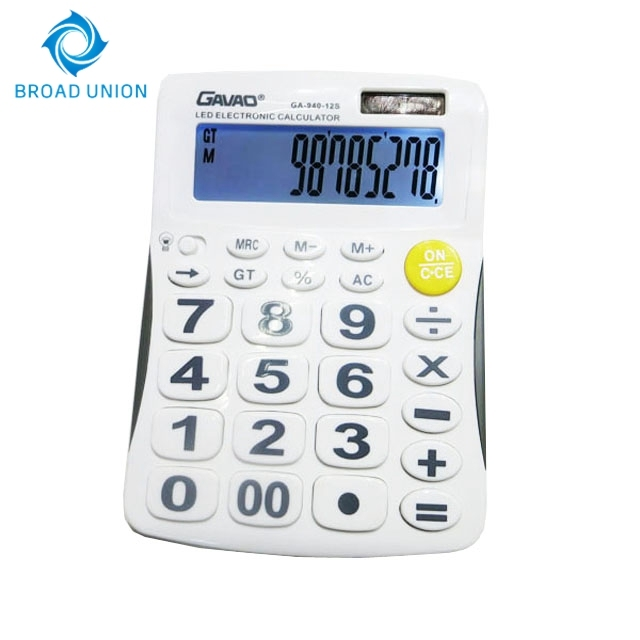 Promotion Office Calculator 12 Digits Solar Electronic Calculator With Light