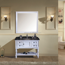 WTS16488 Modern style Soft White 43 inch Bath Vanity with black Marble Top