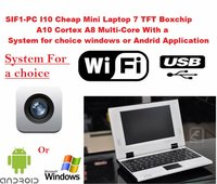 SIF1-PC I10 Cheap Mini Laptop 7 TFT Boxchip A10 Cortex A8 Multi-Core With a system for choice windows or Andrid application