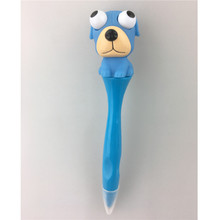 Promotional 3d dog plastic ball pen, custom eye popper dog logo ballpen