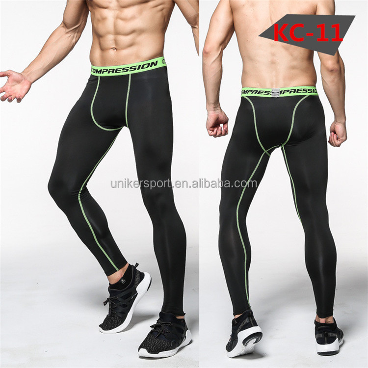 Cheap simple dry fit men's compression sport pants, polyester pants