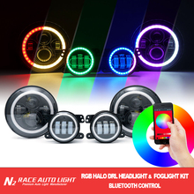 Hot selling DOT and SAE, 2017 newest design, Bluetooth RGB Halo H/L for JEEP Wrangler LED HeadLight & Foglight