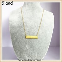 alibaba online shop china wholesale Italy style gold plated pure silver 925 necklace with blank rectangle plate charm