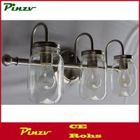 3 light clear mason jar lighting Brushed Nickel vanity bathroom wall