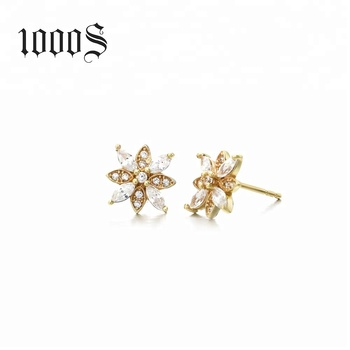 Customized Designs 14K Yellow Gold Simple Designs Pave Cz Flower Shaped Stud Earrings Wholesale