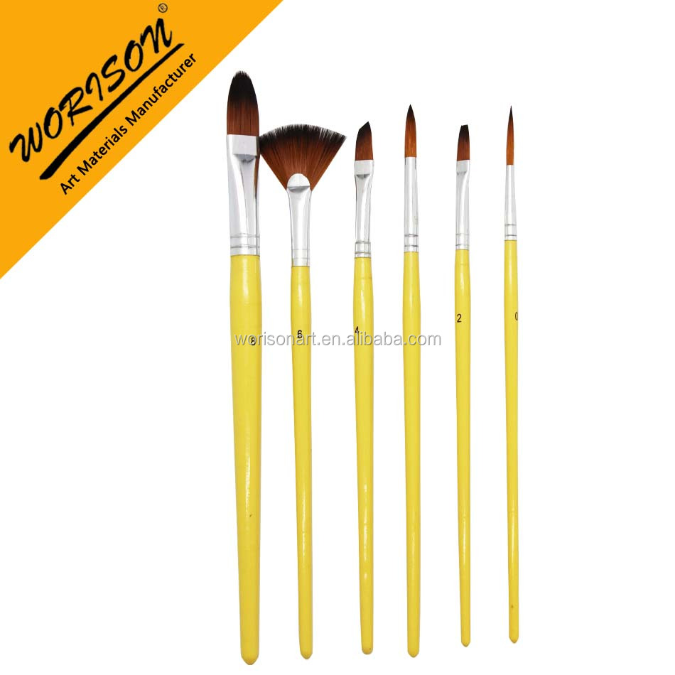 OEM 6pcs acrylic and watercolour nylon hair paint brush