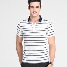 100% mens polo shirt 100% cotton wholesale striped t-shirt