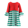 Wholesale 2015 fashion hot sale lovely girl cotton Christmas design red/green strip long sleeve fall new sexy baby doll dress
