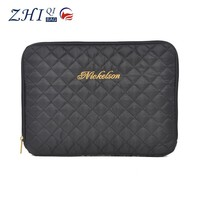 Custom black fashion quilted ladies notebook laptop bag sleeve case with golden line embroidery and zipper