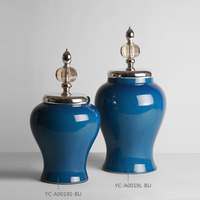 High temperature fired large ceramic blue paint storage jars