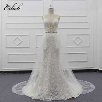 Eslieb 2019 new design sexy mermaid with over skirt bridal dress beaded sashes deep V chest cut wedding dresses bridal gown