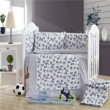 Premium 5pcs gray cars printed crib 100% cotton baby bedding set