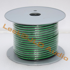 Quality 14GA/16GA Paired Green and Black Speaker cable wire for sound system Subwoofer