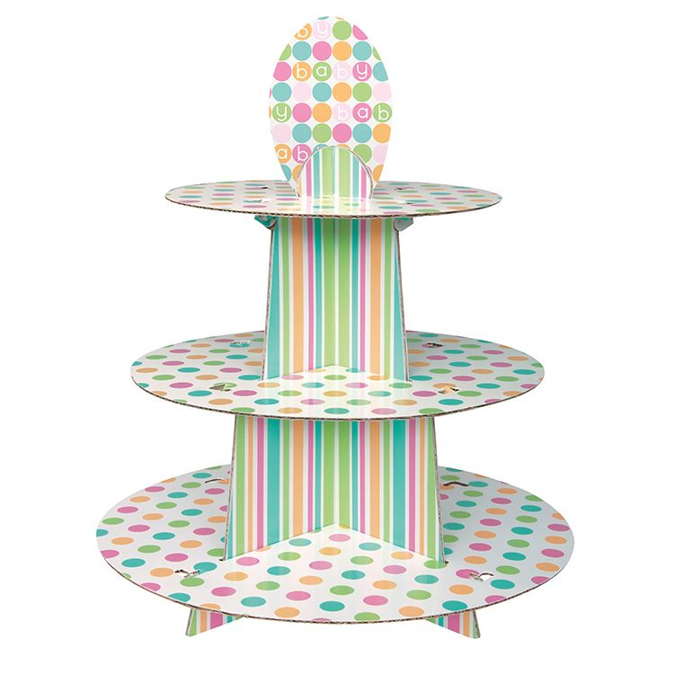 HIC clear single cardboard cupcake display stand, decorative folding cake stand