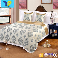 100% polyester jacquard design wedding hotel king size fitted bed cover bedspread
