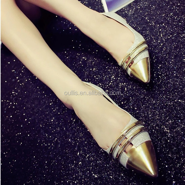 2016 latest design beautiful lady gold flat shoes CP6917