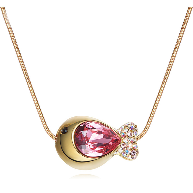 SJ Alibaba online pendant jewelry brilliant pear cut red austrian crystal cute ocean fish gold necklace