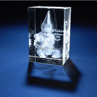 3d laser engraving glass block for baby souvenir