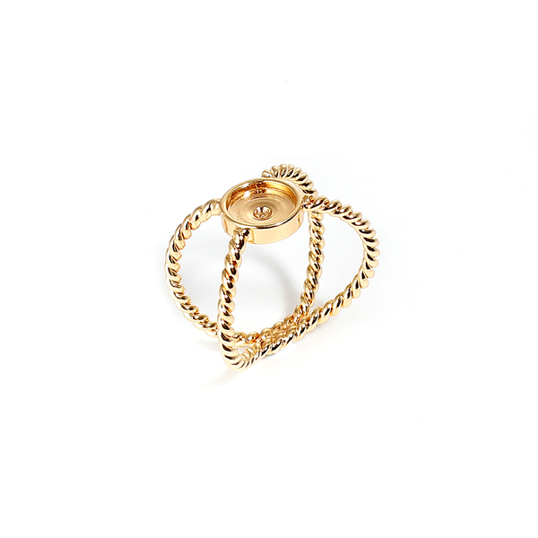 Copper Unadjustable Rings Gold Plated X Shape Cabochon Settings Alloy Ring Setting