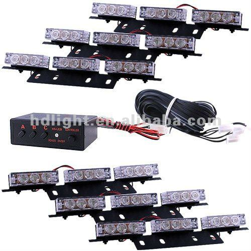 54 LED Emergency Vehicle Strobe Lights Lightbars for Deck Dash Grille - Whit